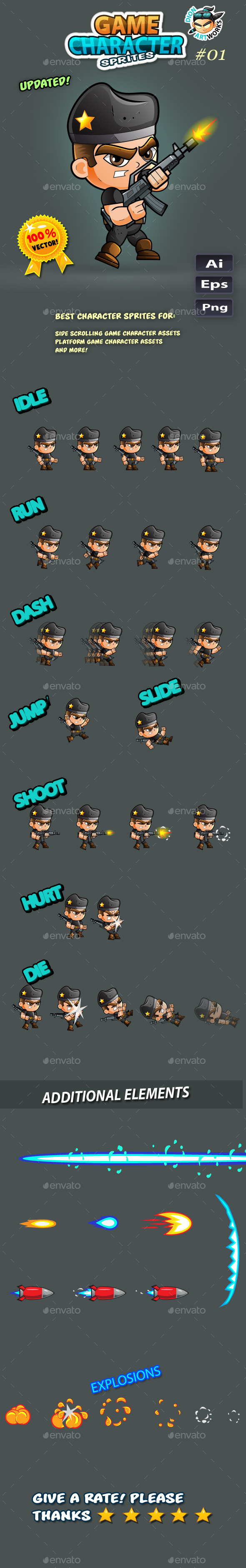 Game Character Sprites  - Soldier - Sprites Game Assets