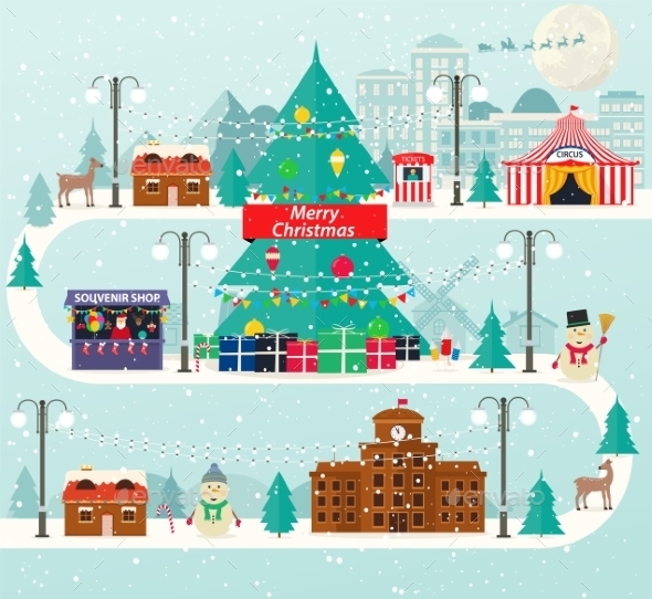 Christmas Urban And Rural Landscape In Flat Design - Christmas Seasons/Holidays