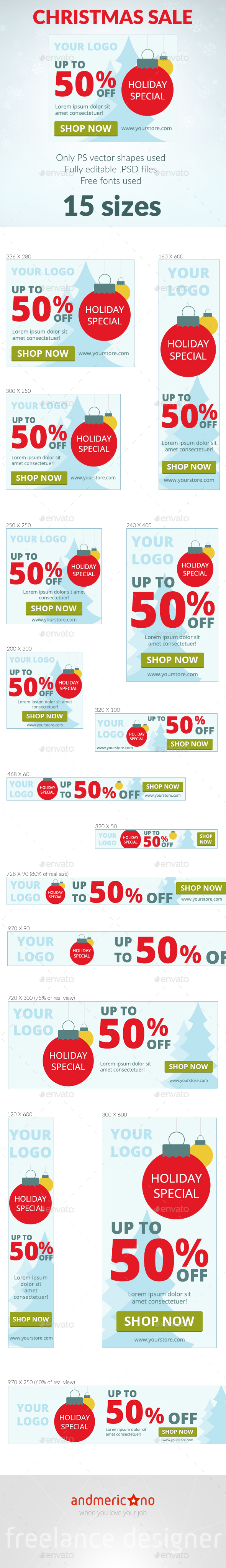 Christmas Sale Banners - Banners & Ads Web Elements