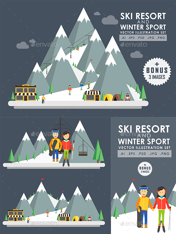Ski Resort and Winter Sport - Sports/Activity Conceptual