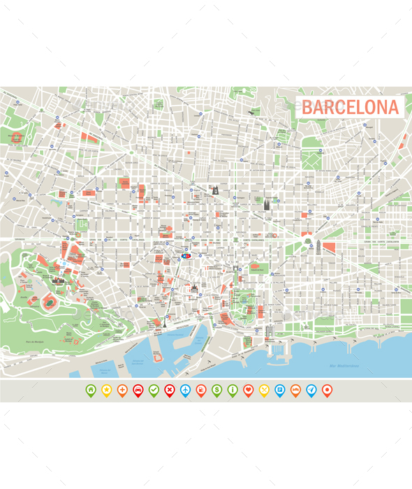 Barcelona Map and Set of Navigation Icons. - Travel Conceptual