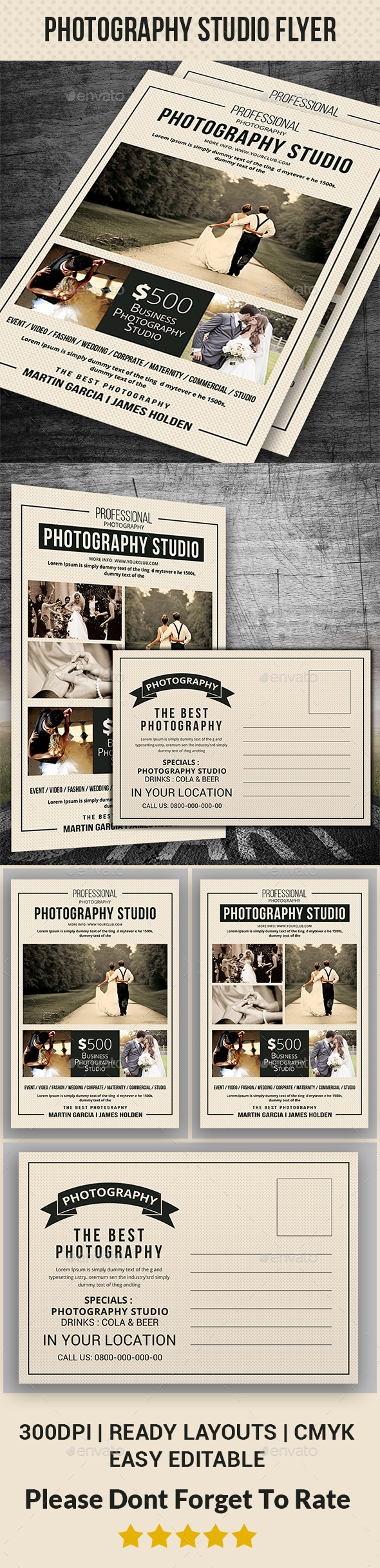 Wedding Photography Post card - Cards & Invites Print Templates