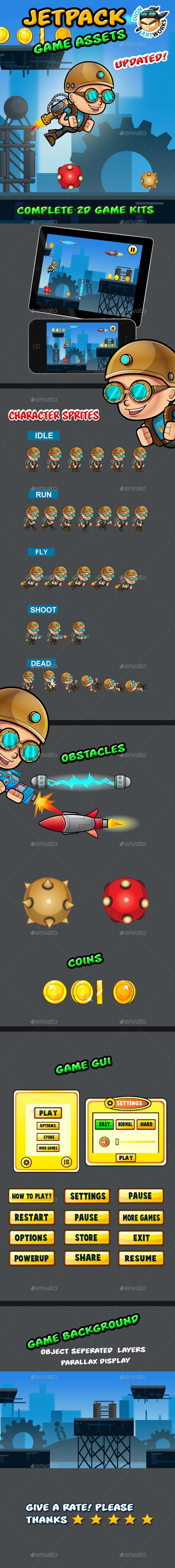 Jetpack Boy Game Assets - Game Kits Game Assets