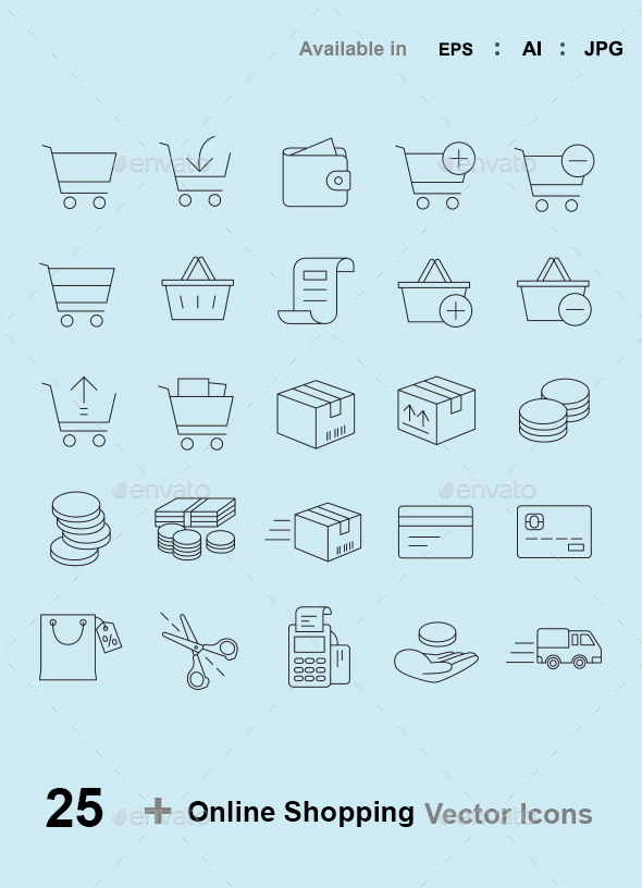 Online Shopping Outlines Vector Icons - Web Icons