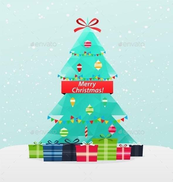 Christmas Tree With Gifts On a Snowy Background - Christmas Seasons/Holidays