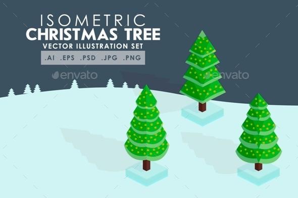 Isometric Christmas Tree Vector - Seasons/Holidays Conceptual