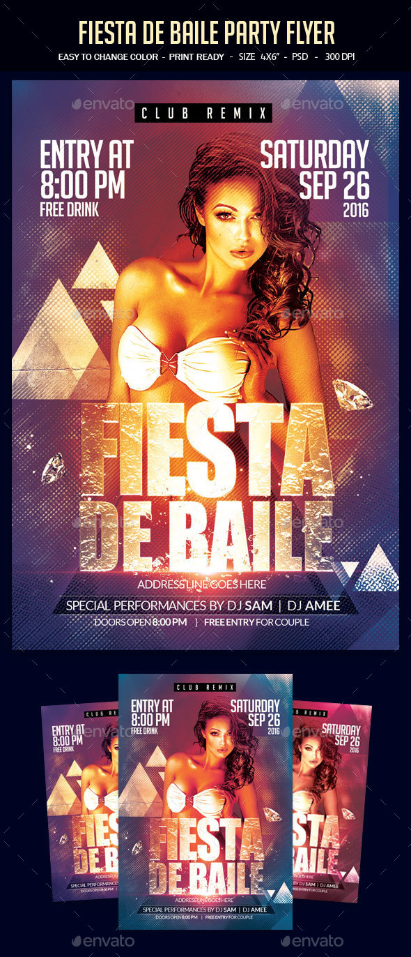 Fiesta De Baile Party Flyer - Clubs & Parties Events