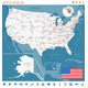 USA Map, Flag, Navigation Labels, Roads.  - GraphicRiver Item for Sale