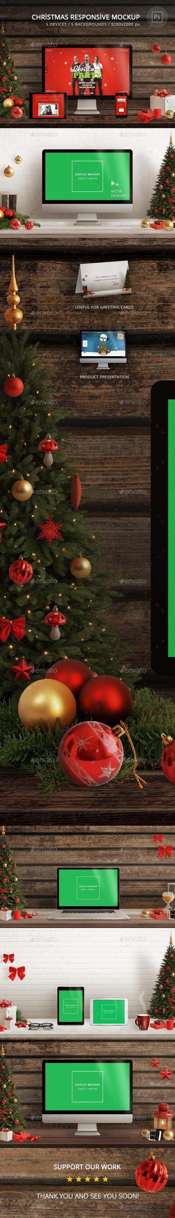 Christmas Responsive Mockup - Displays Product Mock-Ups