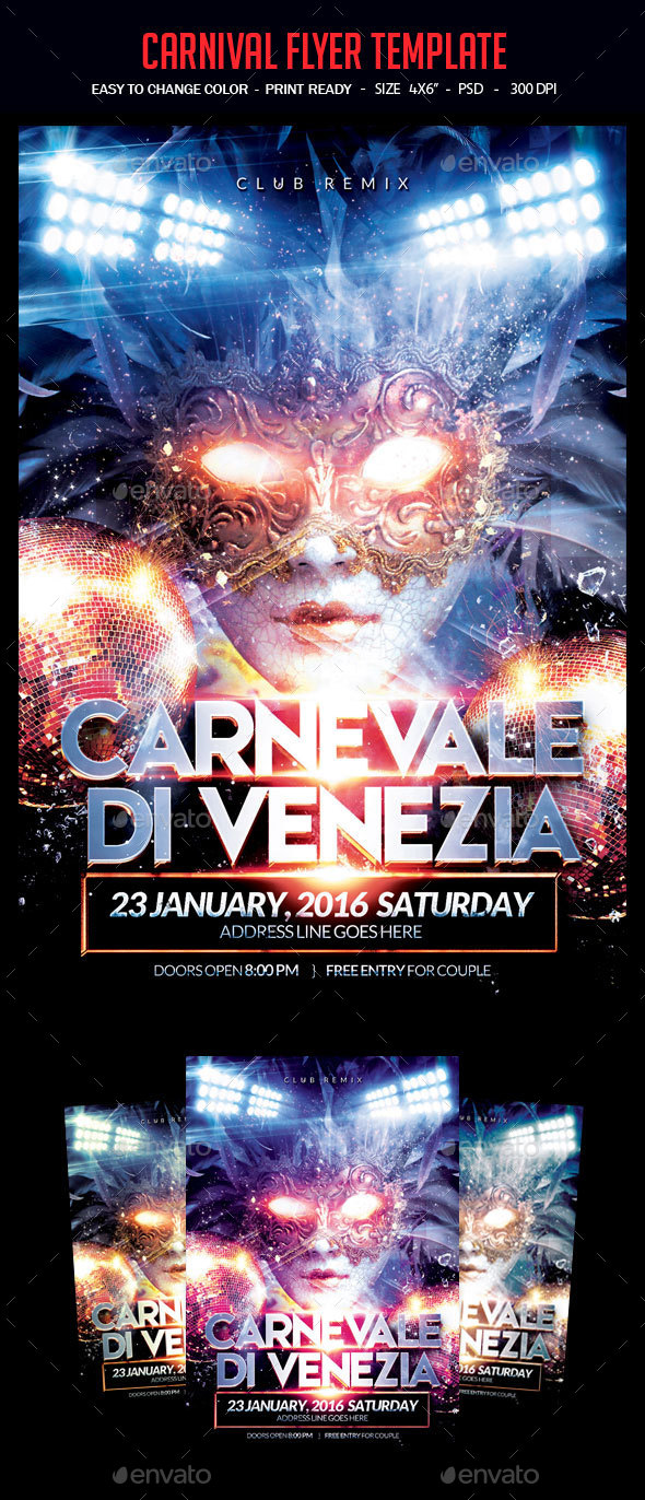 Carnival Flyer Template - Clubs & Parties Events