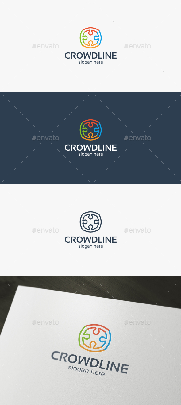 Crowd Line - Logo Template - Abstract Logo Templates