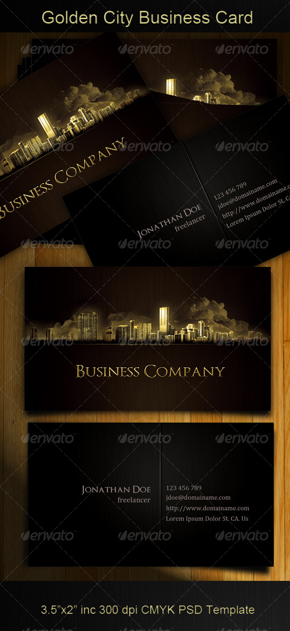 Golden City Business Card - Creative Business Cards