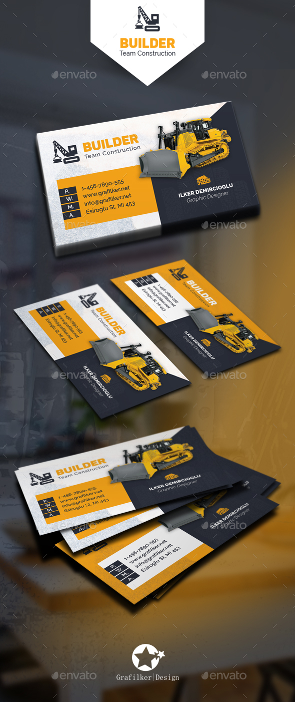 Construction Business Card Templates By Grafilker GraphicRiver - Construction business card template