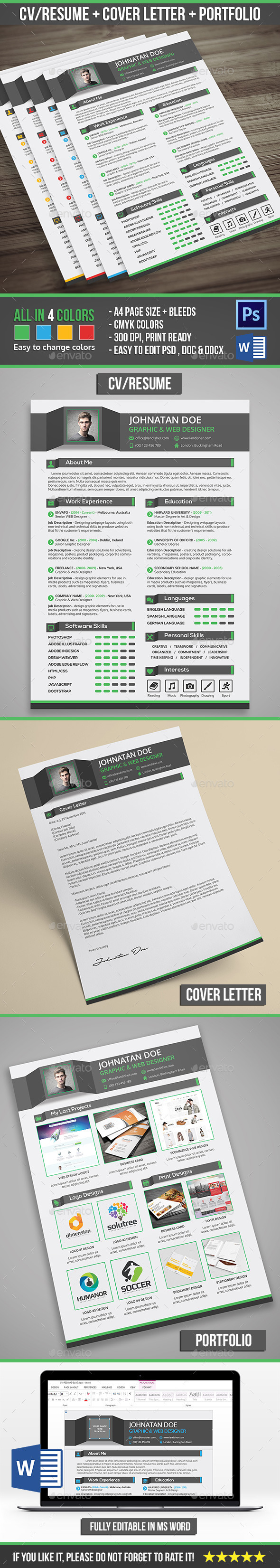 Creative Professional Resume CV + Cover Letter + Portfolio - Resumes Stationery