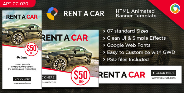 Car Sales and Rental HTML5 Banners- GWD - 7 Sizes - CodeCanyon Item for Sale
