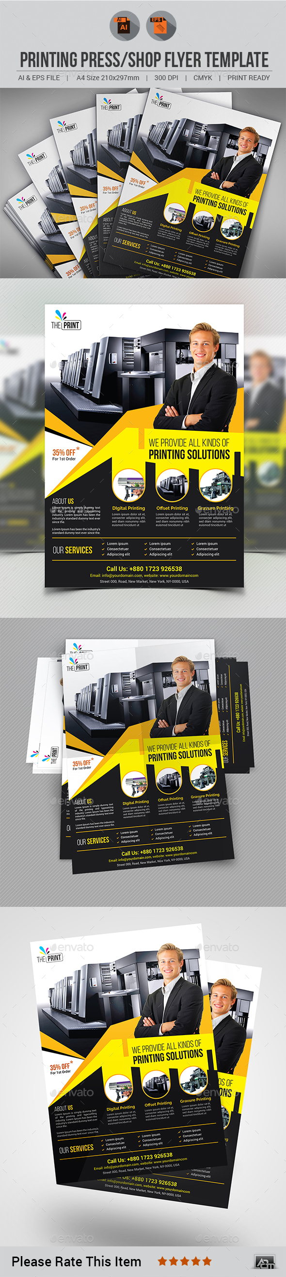 Printing Press/Shop Flyer V2 - Corporate Flyers