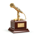 Music or journalism award concept. Gold microphone isolated on w - PhotoDune Item for Sale