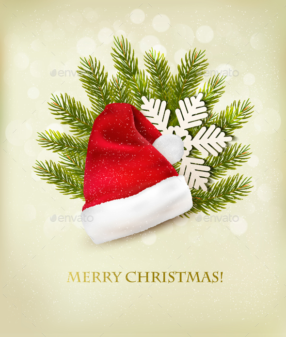 Holiday Background With A Santa Hat And Christmas  - Christmas Seasons/Holidays