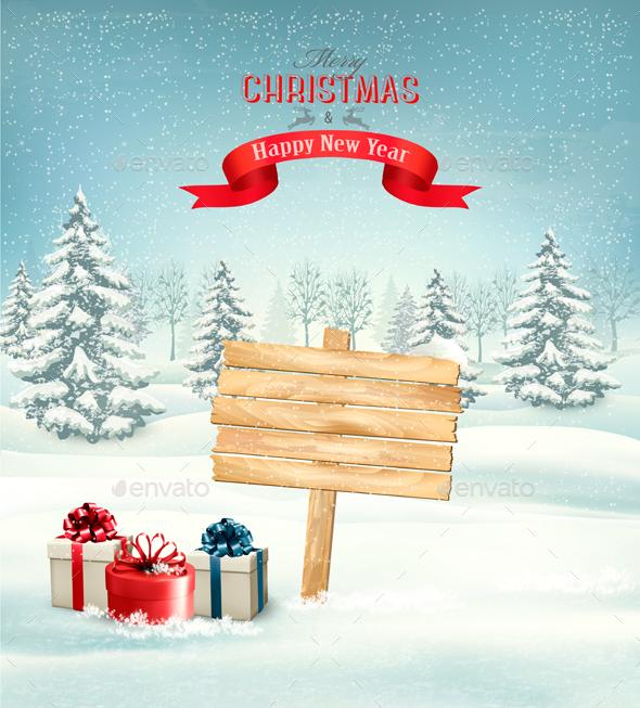 Holiday Christmas Background With Presents - Christmas Seasons/Holidays