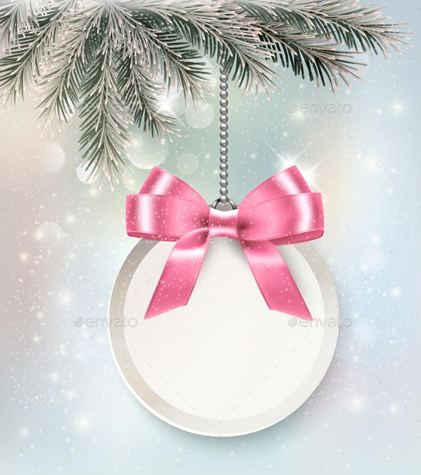 Christmas Background With Gift Card. Vector - Christmas Seasons/Holidays