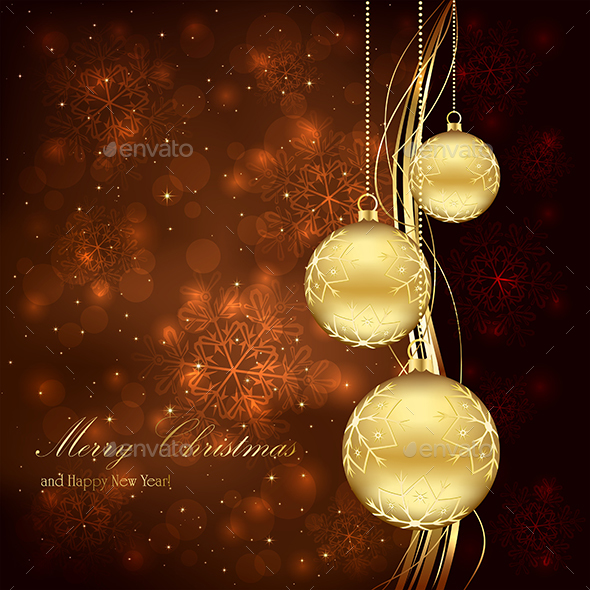 Three Golden Christmas Balls - Christmas Seasons/Holidays