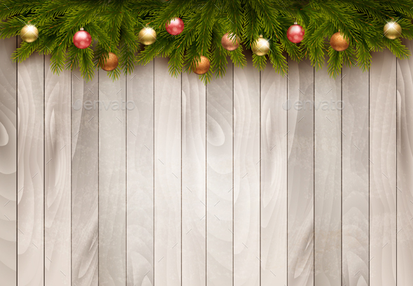 Christmas Decoration On old Wooden Background. - Christmas Seasons/Holidays