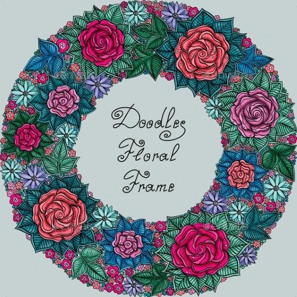 Vector Color Floral Frame Pattern - Backgrounds Decorative