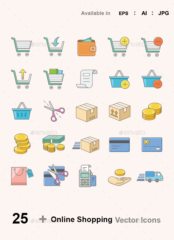 Online shopping color vector icons - Web Icons
