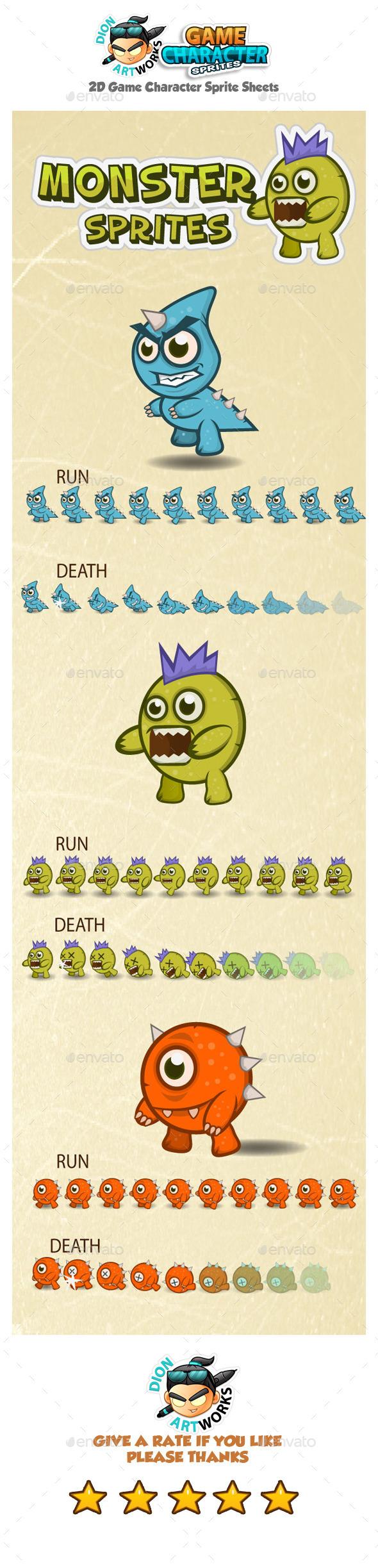 Monster Sprite Sheets - Sprites Game Assets