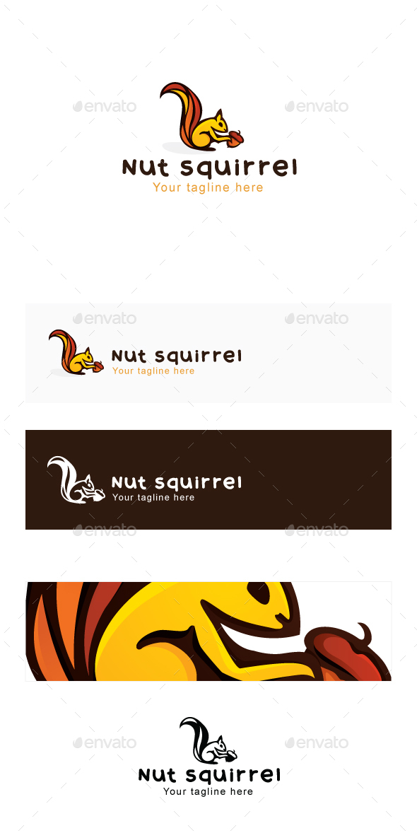 Nut Squirrel Logo Template - Food Logo Templates