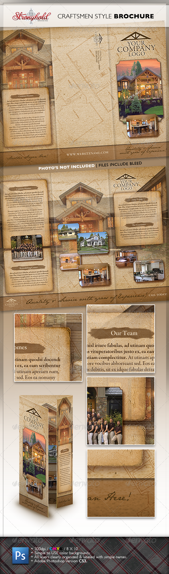Vintage Craftsmen Style Brochure - Corporate Brochures