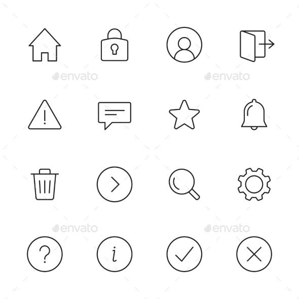 Basic Interface Line Icons - Web Icons