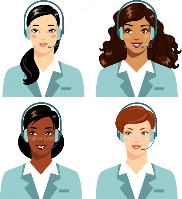 Women Call Center Operator  - People Characters