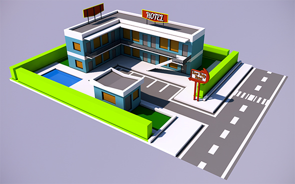 Low Poly Hotel (Ready to Render) - 3DOcean Item for Sale
