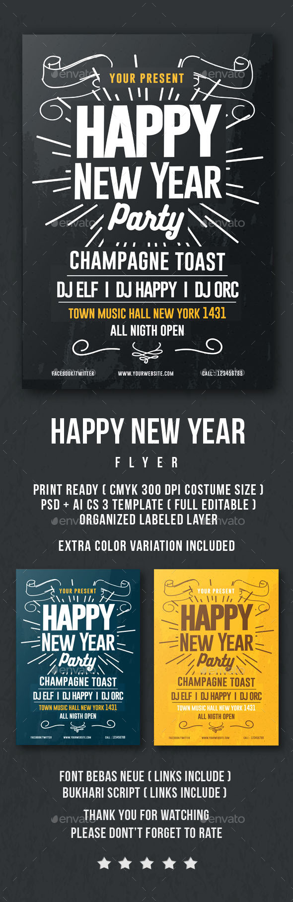 HAPPY NEW YEAR FLYER - Flyers Print Templates
