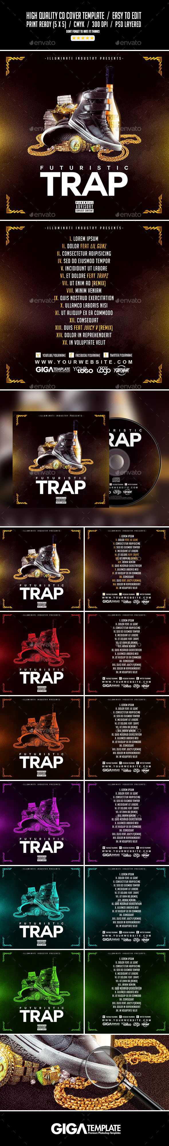 Futuristic Trap | Mixtape Album CD Cover Template - CD & DVD Artwork Print Templates