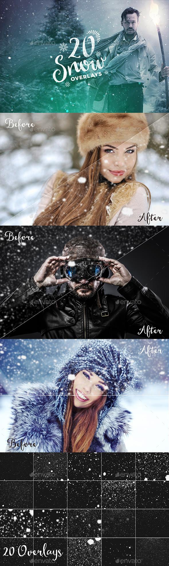20 Snow Overlays - Seasonal Photo Templates