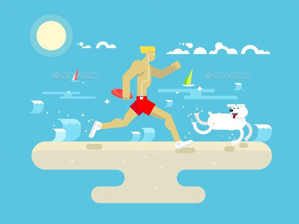 Morning Jog On Beach - Sports/Activity Conceptual