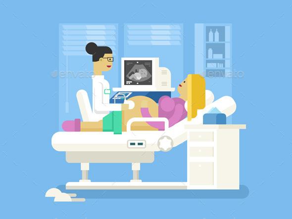 Ultrasound Of a Pregnant Woman - Health/Medicine Conceptual