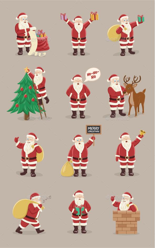 Santa Claus Character Set for Christmas - Christmas Seasons/Holidays