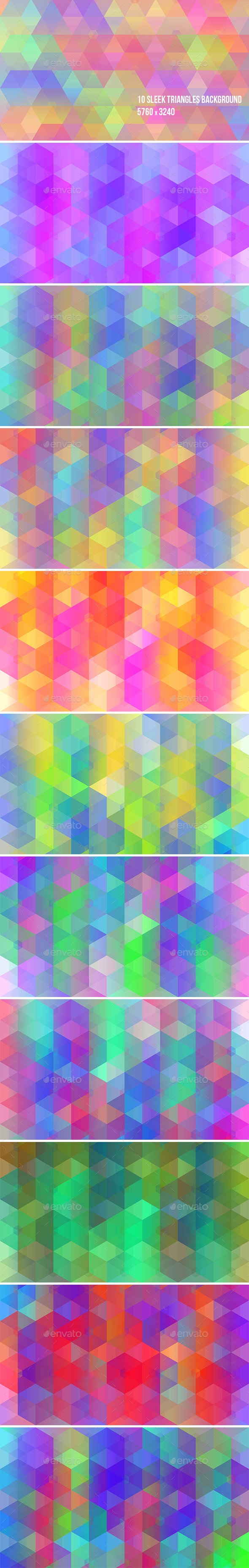 10 Sleek Triangles Backgrounds  - Abstract Backgrounds