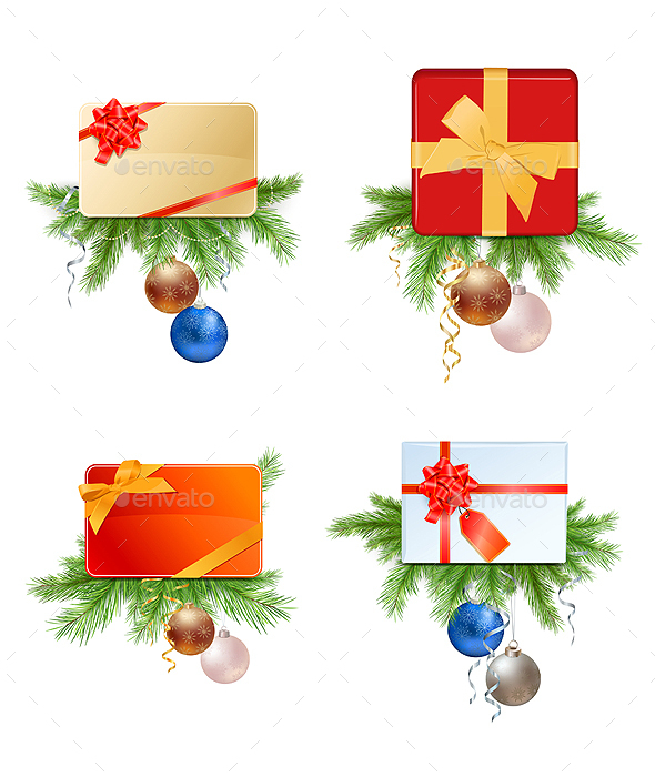 Christmas Presents and Cards with Fir Branches and - Christmas Seasons/Holidays