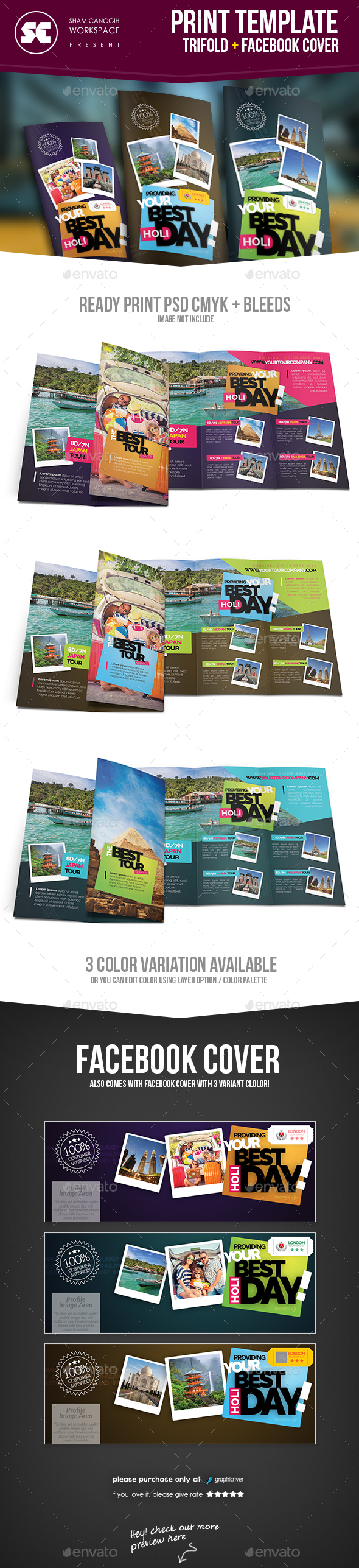 Travel & Tour Tri-Fold Brochure - Brochures Print Templates