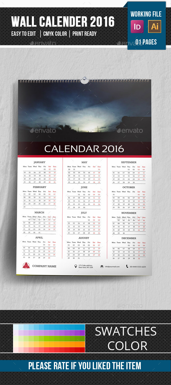 Wall Calendar Template 2016-V16 - Calendars Stationery