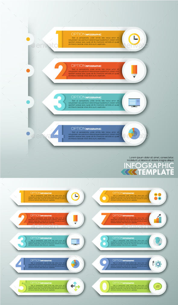 Modern Infographics Paper Arrows From 0 To 9 - Infographics