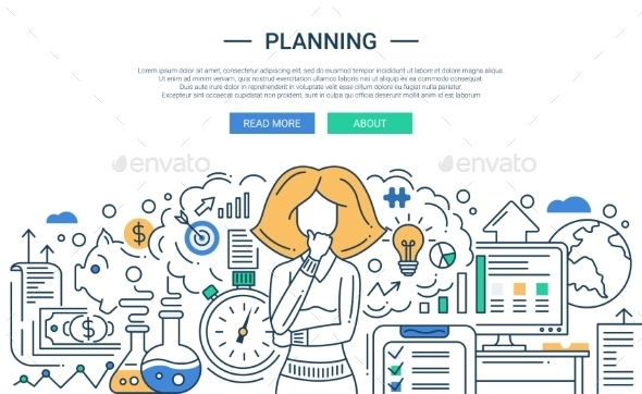 Planning Line Flat Design Illustration - Backgrounds Business