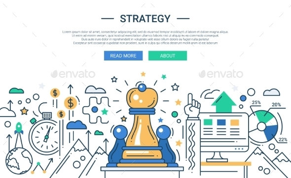 Strategy Line Flat Design Illustration - Concepts Business