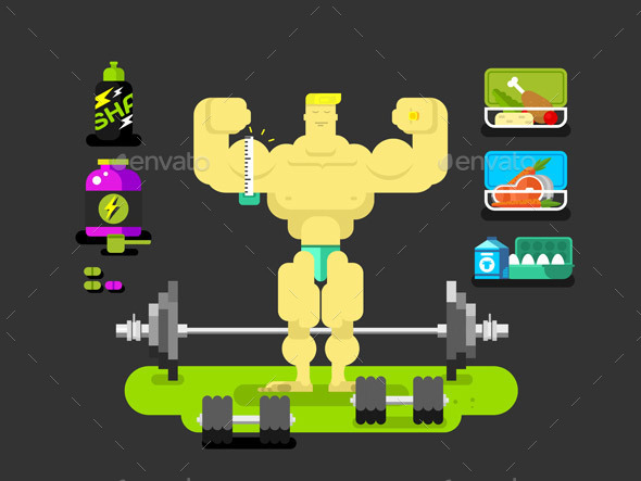 Bodybuilder Character Flat - Sports/Activity Conceptual
