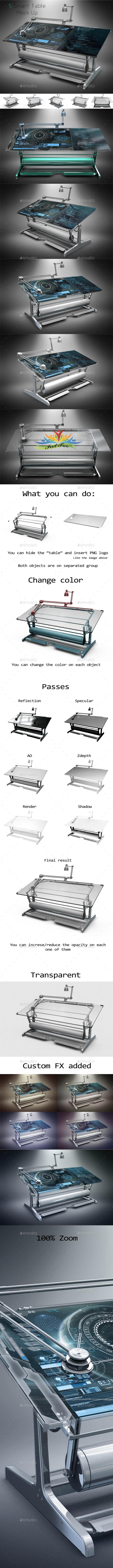 Smart Table Mock Up - Product Mock-Ups Graphics