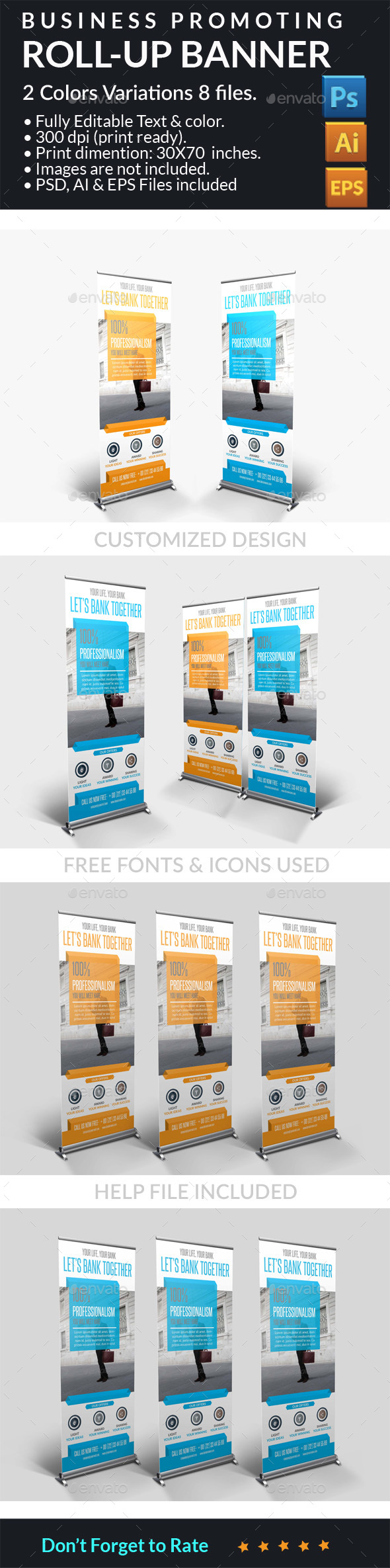 Business Promotion Roll-up Banner - Signage Print Templates